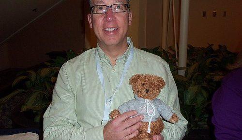 Joel Libava and a Teddy Bear