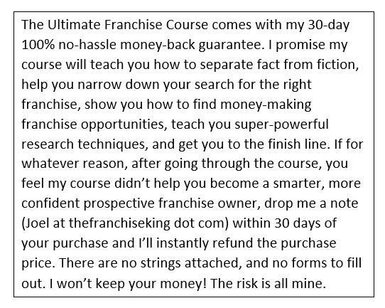 the ultimate franchise course guarantee